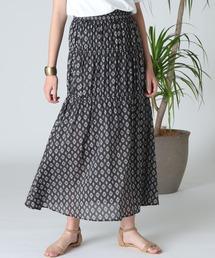 スカート 《Masion de Beige》小紋柄ティアードスカート《Viscotecs》|ZOZOTOWN PayPayモール店