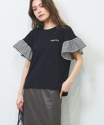 tシャツ Tシャツ ボーダーフリル スリーブ ドッキング カットソー|ZOZOTOWN PayPayモール店