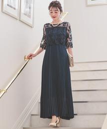 ドレス フラワー刺繍レース 切り替えプリーツロング パーティードレス|ZOZOTOWN PayPayモール店
