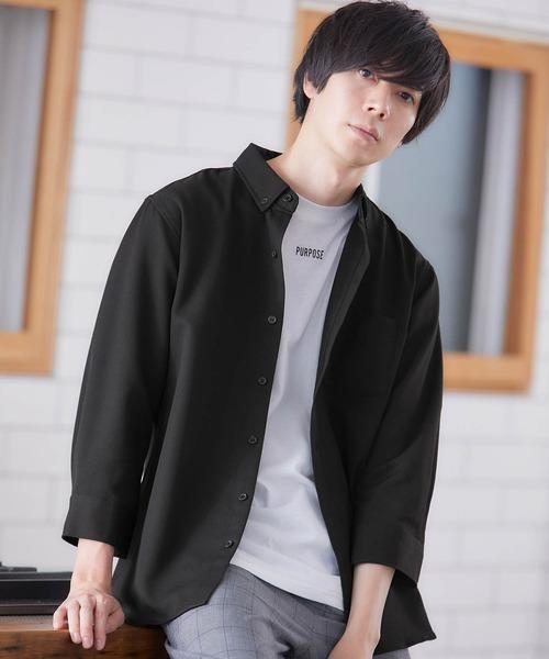 シャツ ブラウス T 日本最大級の品揃え R ストレッチボタンダウンシャツ 3 4 ファクトリーアウトレット sleeve