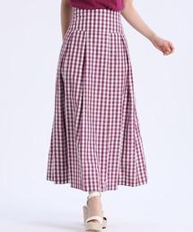 スカート 《Maglie par ef-de》ギンガムチェックタックスカート ZOZOTOWN PayPayモール店
