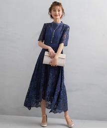 ドレス ケミカルレース使いミモレ丈ワンピースドレス|ZOZOTOWN PayPayモール店
