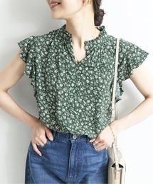 シャツ ブラウス Scatter Flower フリルスリーブブラウス【手洗い可能】◆|ZOZOTOWN PayPayモール店
