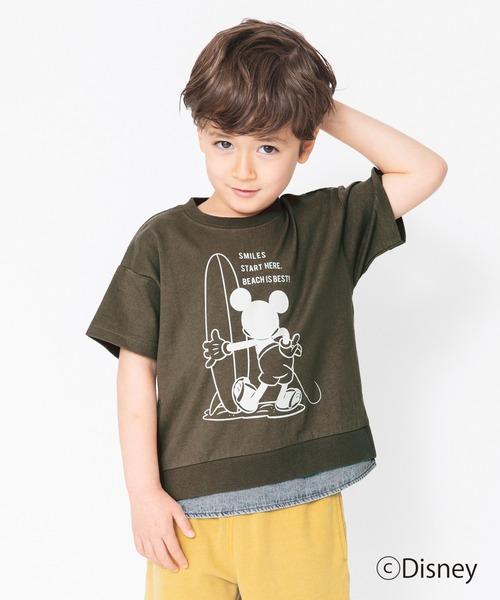 tシャツ 大注目 Tシャツ デニム重ね着風半袖Tシャツ Disney 特別セール品