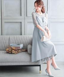 ドレス ビスチェ風バックリボンレース結婚式ワンピースドレス ZOZOTOWN PayPayモール店
