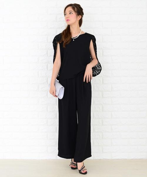 花柄レースマントシンプルパンツドレス 低廉 価格交渉OK送料無料 セットアップ