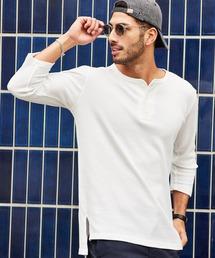 tシャツ Tシャツ サーマル クルー ヘンリー ロング丈 ワッフル Tシャツ|ZOZOTOWN PayPayモール店