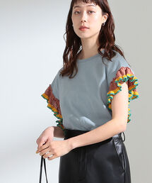 tシャツ Tシャツ Ray BEAMS / ライン フリル スリーブ Tシャツ|ZOZOTOWN PayPayモール店