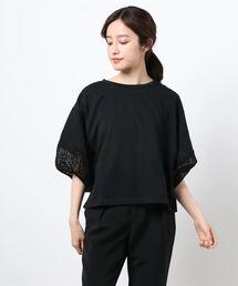 tシャツ Tシャツ エムエフエディトリアルレディース/m.f.editorial:Women ボリューム袖レース クルーネックプルオーバーTシャツ|ZOZOTOWN PayPayモール店