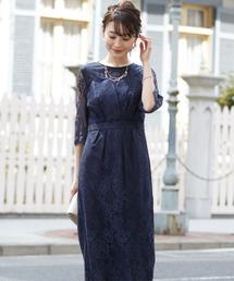 ドレス デコルテシアー袖付き総レースIラインドレス|ZOZOTOWN PayPayモール店