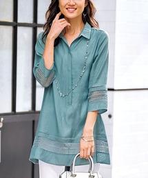 チュニック 袖&裾レース使いシャツチュニック|ZOZOTOWN PayPayモール店