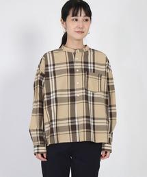 シャツ ブラウス [D.M.G / ディーエムジー] タイプライターチェック スタンドカラーシャツ ZOZOTOWN PayPayモール店