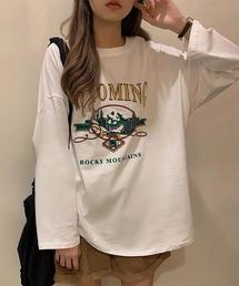 tシャツ Tシャツ ラウンドネック カジュアル ロンT ロゴ ロンT ロンティー 英字プリント ドロップショルダー ルーズ オーバーサイズ ビッグシル|ZOZOTOWN PayPayモール店