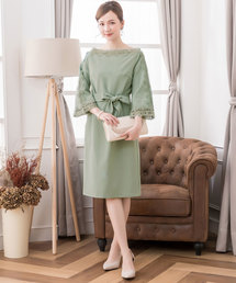 ドレス レース7分袖&デコルテ刺繍ワンピースドレス|ZOZOTOWN PayPayモール店