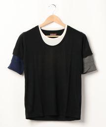 tシャツ Tシャツ 【Bl】五分袖フェイクレイヤードTシャツ|ZOZOTOWN PayPayモール店