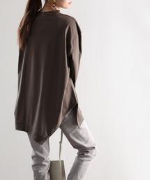 tシャツ Tシャツ アシンメトリー・ビッグシルエットクルーネック無地ロングカットソー(長袖) ZOZOTOWN PayPayモール店
