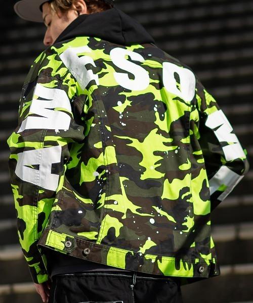 ジャケット Gジャン お得 迷彩柄 カモフラージュ ペンキ ビッグシルエット デザイン ロゴプリント バック 売り込み