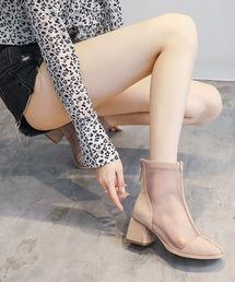 ブーツ セミ スクエアトゥ チュール ブーツ|ZOZOTOWN PayPayモール店