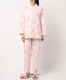 ルームウェア パジャマ リーフ柄 スタンドカラーのシンプルなシャツパジャマ(S-LLサイズ)|ZOZOTOWN PayPayモール店