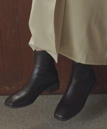 ブーツ スクエアトゥストレッチレザーブーツ|ZOZOTOWN PayPayモール店