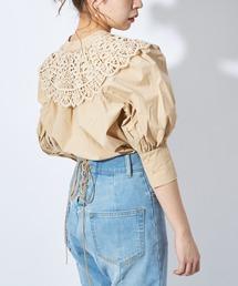 シャツ ブラウス 刺繍レース付け襟5分袖2wayスタンドブラウス|ZOZOTOWN PayPayモール店