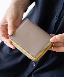 財布 ツートンカラー サフィアーノ&ゴートレザー スキミング防止機能付き ラウンドファスナー 二つ折り財布|ZOZOTOWN PayPayモール店