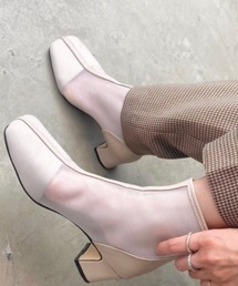 ブーツ センターシームスクエアトゥシアーチュールパイピングショートブーツ/シースルー|ZOZOTOWN PayPayモール店