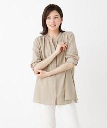 シャツ ブラウス 【M-3L】綿シフォンバンドカラーシャツ|ZOZOTOWN PayPayモール店