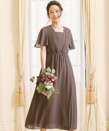 ドレス 袖あり&ミモレ丈ワンピースドレスアシンメトリー大きいサイズ結婚式フォーマル|ZOZOTOWN PayPayモール店