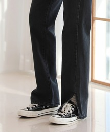 パンツ デニム ジーンズ 足が長く見えるシルエットハイウエストロングスリットデニム|ZOZOTOWN PayPayモール店