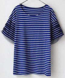 tシャツ Tシャツ CLOCHE チュールレイヤードスリーブボーダーカットソー|ZOZOTOWN PayPayモール店