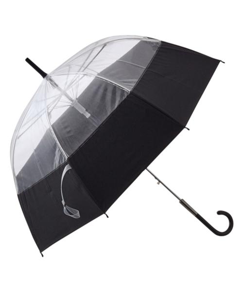 傘 雨傘 新品未使用正規品 プリュイ バイカラー ビニール傘 58cm ブラック 上品