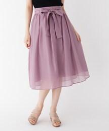 スカート 【大きいサイズあり・13号・15号】リボンオーガンジーフレアスカート|ZOZOTOWN PayPayモール店