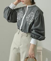 シャツ ブラウス バンドカラー刺繍シャツ/【WEB/EC限定商品】|ZOZOTOWN PayPayモール店
