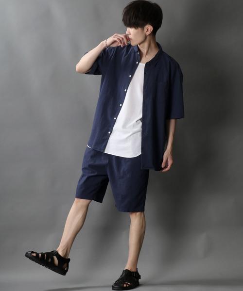 [再販ご予約限定送料無料] セットアップ 綿麻ストレッチ レギュラーカラーシャツ ハーフパンツ 人気急上昇