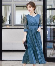 ドレス プリーツ×レース 7分袖結婚式ワンピースドレス ZOZOTOWN PayPayモール店