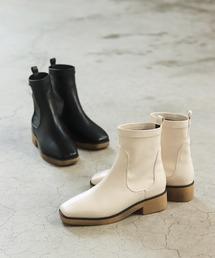ブーツ 軽量EVAソールのスクエアトゥストレッチショートブーツ|ZOZOTOWN PayPayモール店