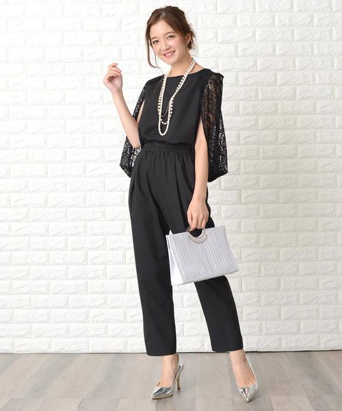 新品■送料無料■ レースケープ袖セットアップ パンツドレス 永遠の定番