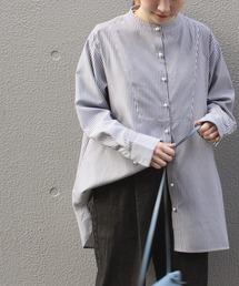 シャツ ブラウス [洗える/シワになりにくい]パールボタンストライプバンドカラーシャツ【大きいサイズ対応】|ZOZOTOWN PayPayモール店