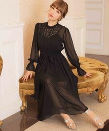 ドレス 平子理沙プロデュース『RIRIBAE/リリベ』星柄刺繍シフォンフレアのワンピースドレス|ZOZOTOWN PayPayモール店