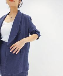 ジャケット テーラードジャケット IENA LA BOUCLE 麻シーチング ショールジャケット◆|ZOZOTOWN PayPayモール店