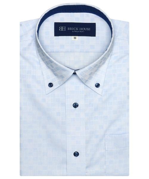 形態安定ノーアイロン 最新 贈与 ボタンダウン 半袖ビジネスワイシャツ
