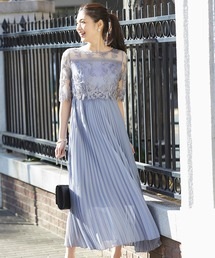 ドレス 刺繍レース切り替えプリーツロングパーティードレス|ZOZOTOWN PayPayモール店