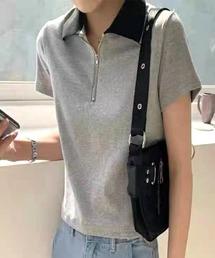 tシャツ Tシャツ 衿配色ZIPショートTOPS|ZOZOTOWN PayPayモール店