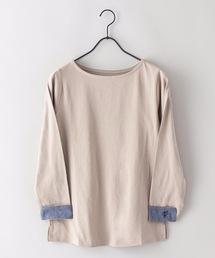 tシャツ Tシャツ 【C-FORT POINT】ベーシックロンT ロングTシャツ 袖裏には別布でシャンブレー素材 ワンポイント刺繍|ZOZOTOWN PayPayモール店