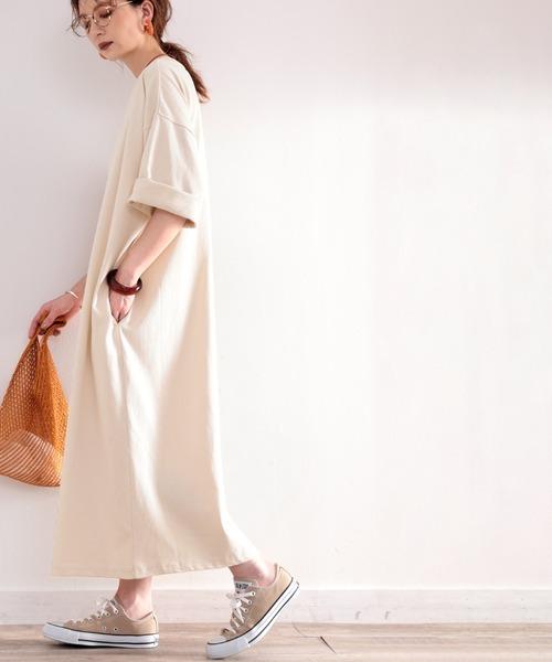 新作製品 世界最高品質人気 ワンピース ポケット付きロング マキシ丈ゆったりコットン 空紡糸 当店一番人気