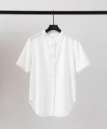 シャツ ブラウス ベーシックスタンドカラー バンドカラー 半袖シャツ|ZOZOTOWN PayPayモール店