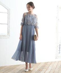 ドレス オリジナル模様柄刺繍レース使い プリーツ加工ミモレ丈ワンピースドレス|ZOZOTOWN PayPayモール店