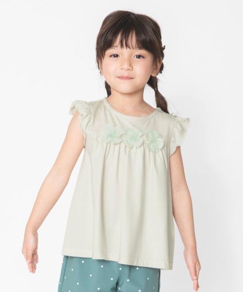 tシャツ Tシャツ 花モチーフ付き半袖Tシャツ 接触冷感 新作販売 ◆高品質