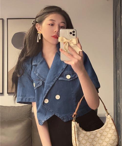 買物 ジャケット Gジャン 販売実績No.1 ショート丈ダブルボタンデニムジャケット